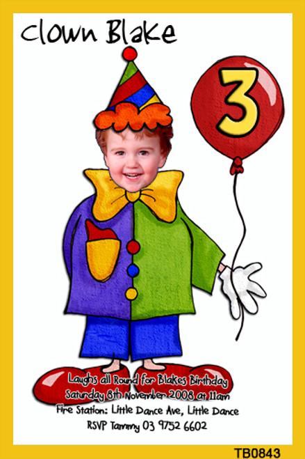 Cartoon Clown Birthday Party Invitations