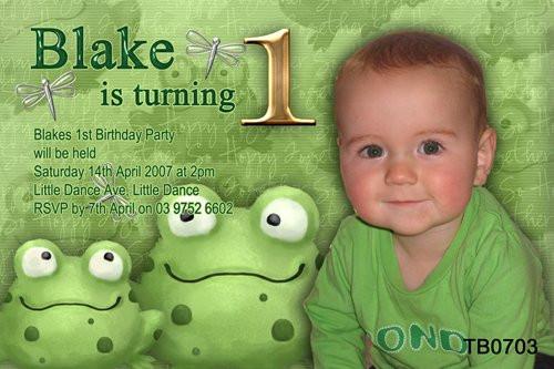 Green Frog Birthday Party Invitations