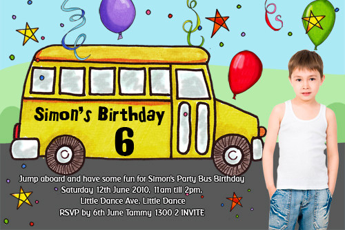 Party Bus Birthday Party Invitations
