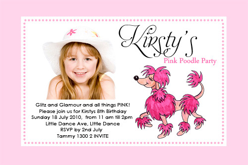 Pink Poodle Birthday Party Invitations