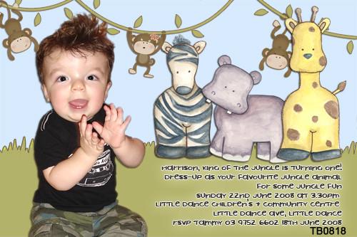 Baby Safari Animals Birthday Party Invitations