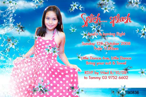 Girls Splish Splash Birthday Party Invitation