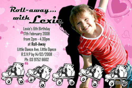 Girls Rollerskating Birthday Party Invitation
