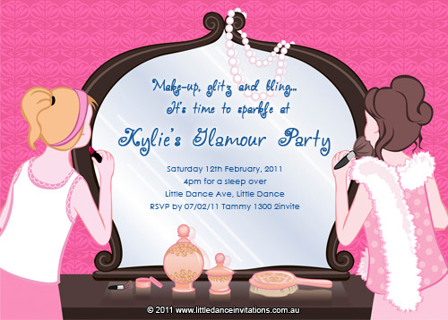 Tween Glamour Party Birthday Party Invitation