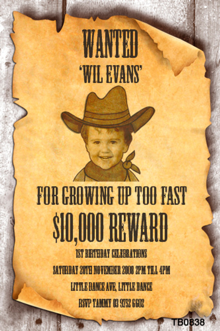 WANTED Sign Party Invitations - Wanted poster kids birthday photo invitation - printed in Australia - buy online with AfterPay, PayPal or card
