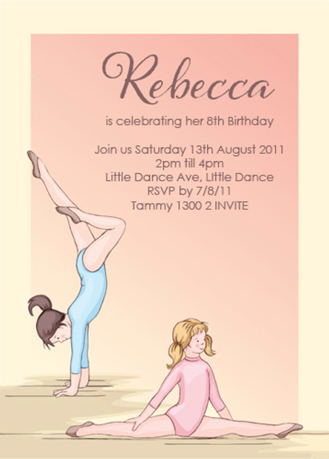Girls Gymnastics Birthday Invitations