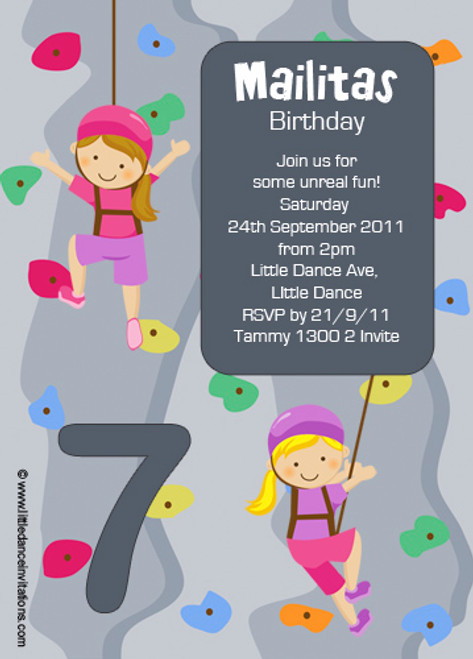 Girls Rock Climbing Party Invitation