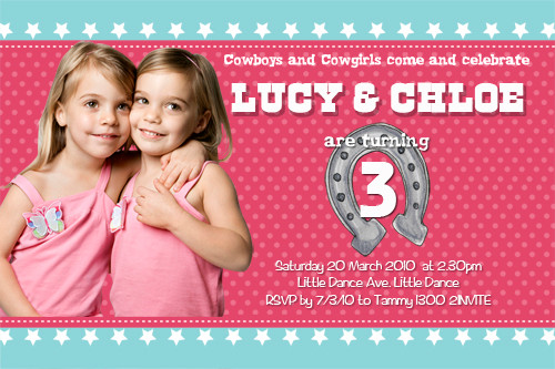 Cowgirls Birthday Party Invitations