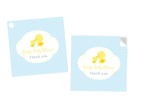 Baby Shower Little Ducky Square Tags and Stickers