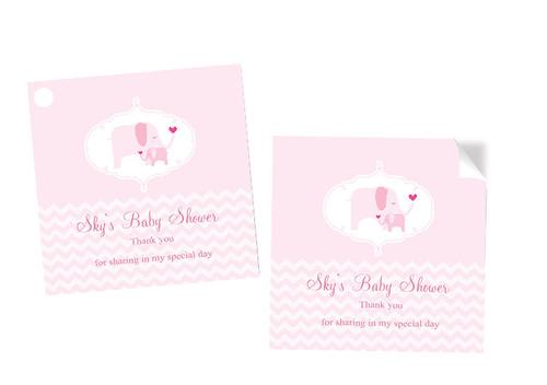Pink Baby Elephant Baby Shower Square Tags Labels and Stickers - Printed in Melbourne Australia
