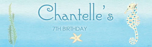 Sea Horse Under the Sea Personalised childrens birthday party banner
