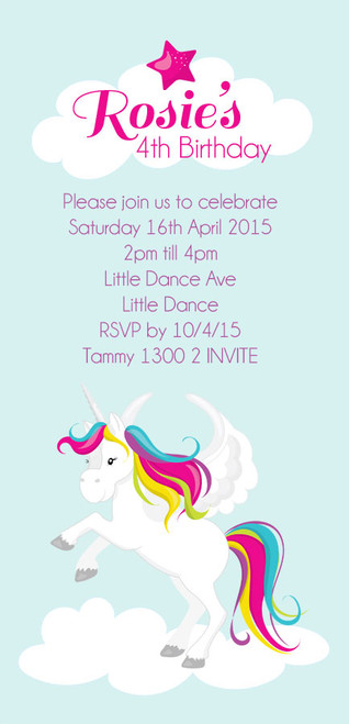 Unicorn Kids Personalised Birthday Party Invitations