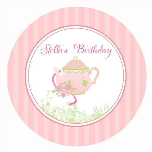 Tea Party Personalised Party Spot Stickers & Labels