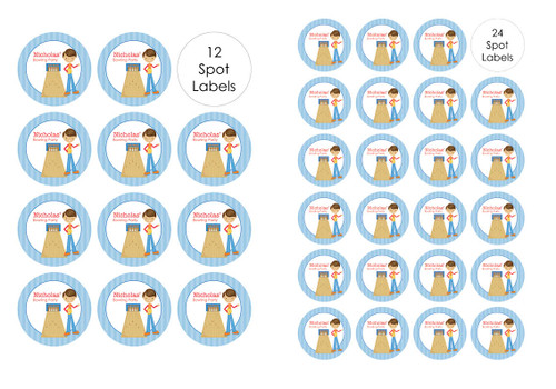 Boys Ten Pin Bowling Party Personalised Party Spot Stickers & Labels