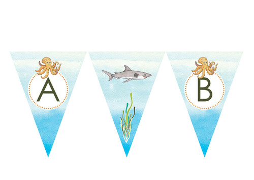 Under the Sea Personalised Birthday Party Bunting Flags
