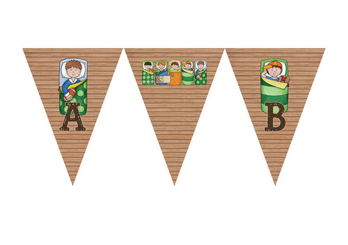 Boys Only Sleepover Slumber Party Personalised Birthday Party Bunting Flags