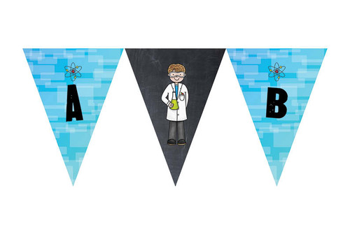 Science Party Personalised Birthday Party Bunting Flags