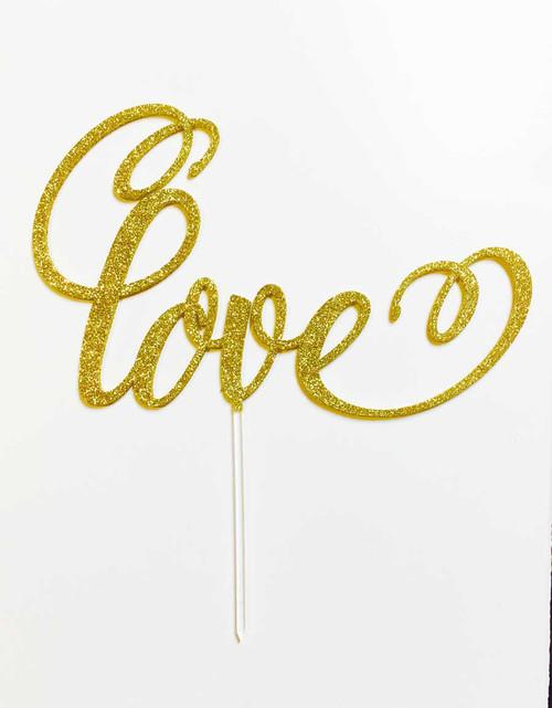 Love Cake Topper in Gold Glitter