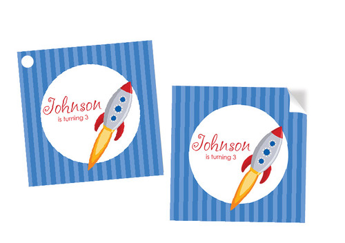 Rocket themed personalised party square stickers and tags