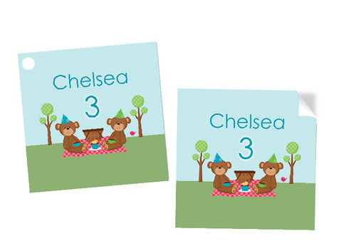 Teddy Bear Picnic Personalised Square Stickers & Square Tags
