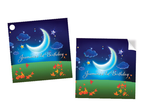 Night Garden Party Personalised Square Stickers & Square Tags