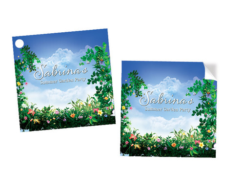 Summer Garden Party Personalised Square Stickers & Square Tags