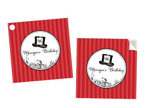 Queen of Hearts Party Personalised Square Stickers & Square Tags