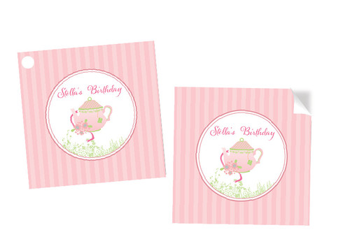 Alice in Wonderland Party Personalised Square Stickers & Square Tags