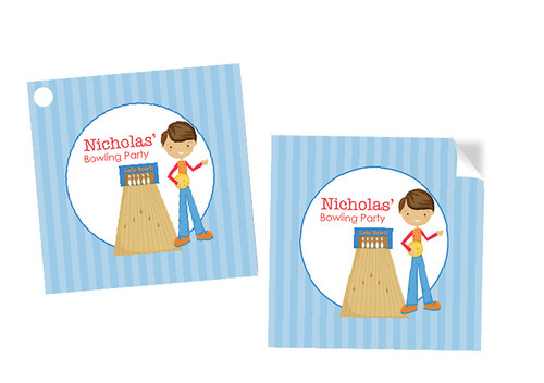 Boys Ten Pin Bowling Party Personalised Square Stickers & Square Tags