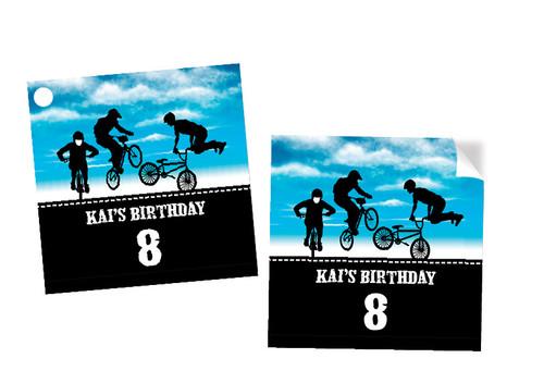 Birthday Party Tags - Blue BMX Bike