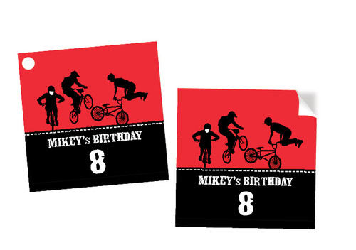 Birthday Party Tags  - Red BMX Bike