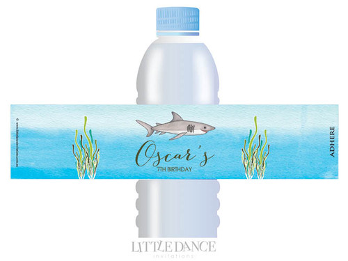 Under the Sea Shark Party Personalised Water Bottle favour labels