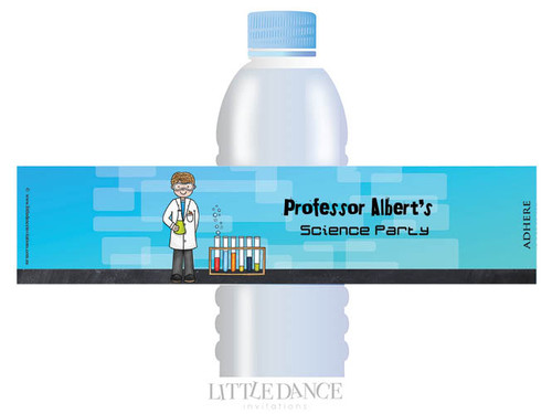 Science Party Personalised Water Bottle favour labels