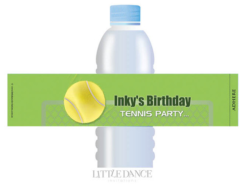 Tennis Party Personalised Water Bottle favour labels