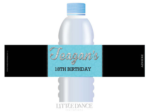 Blue VIP Event Ticket Party Personalised Water Bottle favour labels