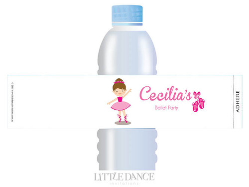 Ballet Party Personalised Water Bottle favour labels