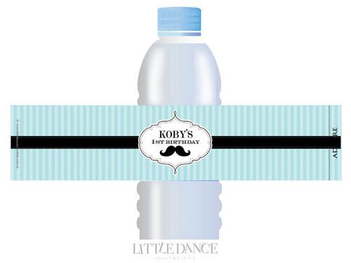 Little Moustache Man Party Personalised Water Bottle favour labels