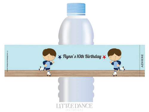 Boys Roller Skating Party Personalised Water Bottle favour labels