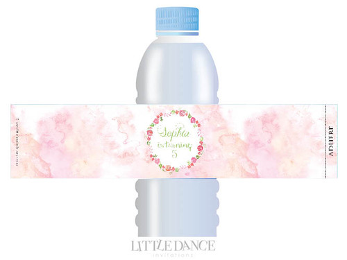 Watercolour Party personalised water bottle favour labels.