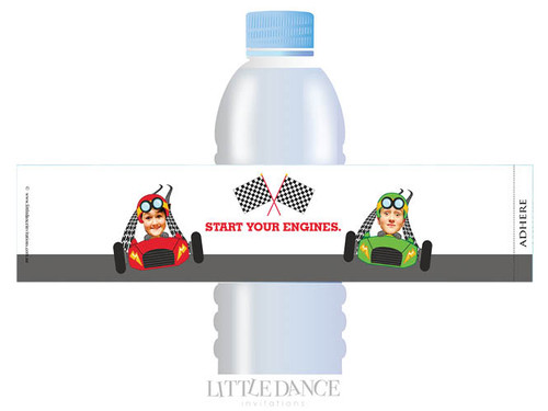 Go Karting Birthday Party personalised water bottle favour labels.