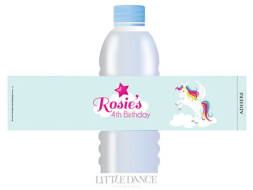 Unicorn Birthday Party personalised water bottle favour labels.