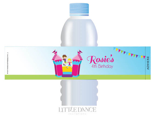 Bouncing Jumping Castle Birthday Party personalised water bottle favour labels.