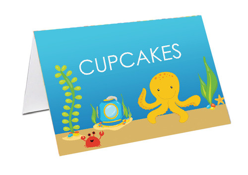 Sea Creatures Party Personalised Place Cards, Name Cards, Buffet & Lolly jar cards