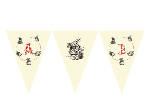 Mad Hatters Tea Birthday party personalised bunting flag decorations