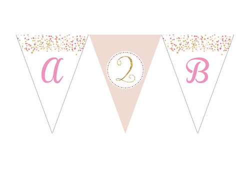 Pink & Gold Confetti Birthday party personalised bunting flag decorations.
