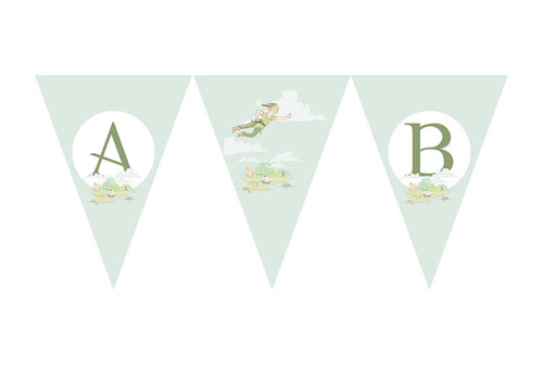 Peterpan Neverland Birthday party personalised bunting flag decorations.