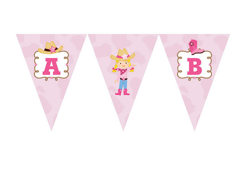 Cowgirl Birthday party personalised bunting flag decorations.