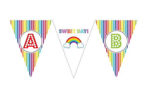Rainbow Stripe Birthday party personalised bunting flag decorations.