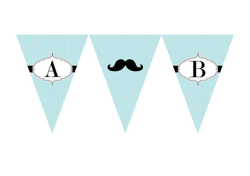Little Moustache Man Birthday party personalised bunting flag decorations.