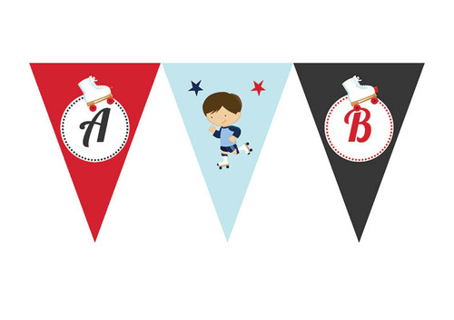 Boys Roller Skating Birthday party personalised bunting flag decorations.